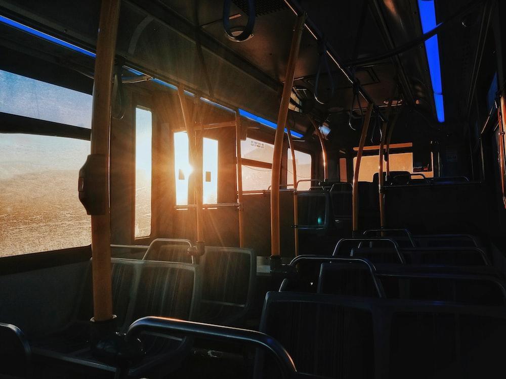 orange and black bus interior