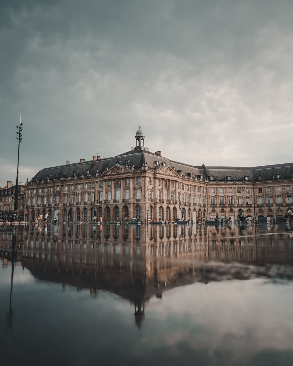 reflective photography of ancient building