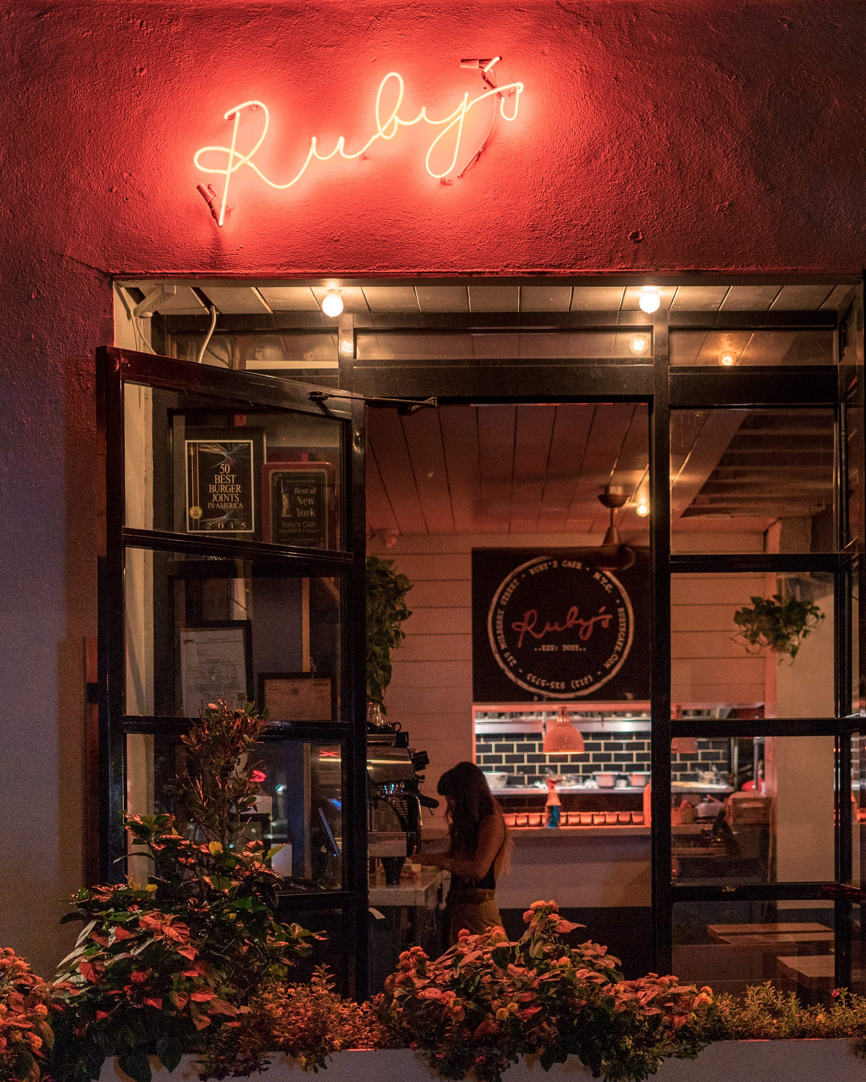 Ruby's neon light signage