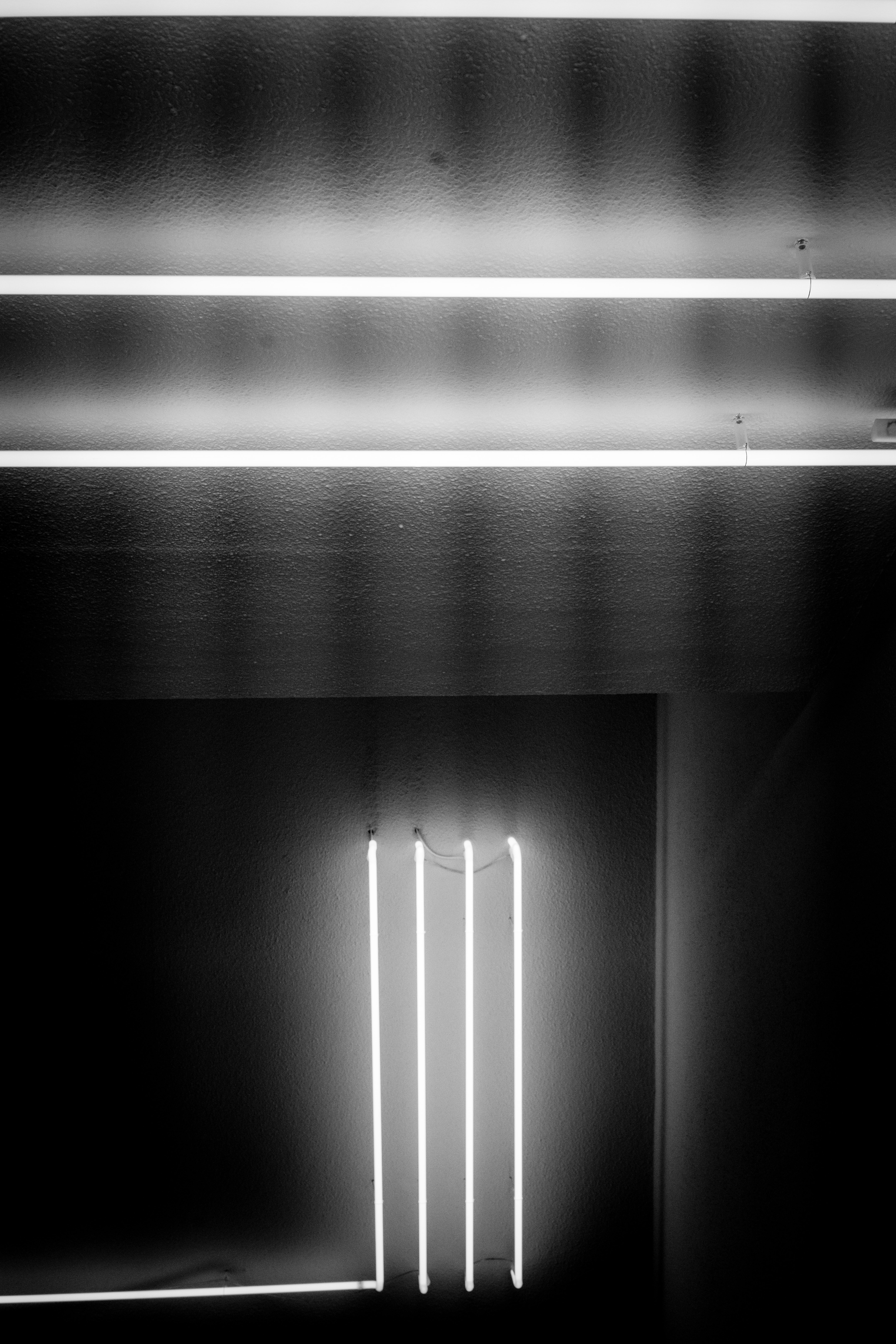 greyscale photography of lighted fluorescent lamps inside room