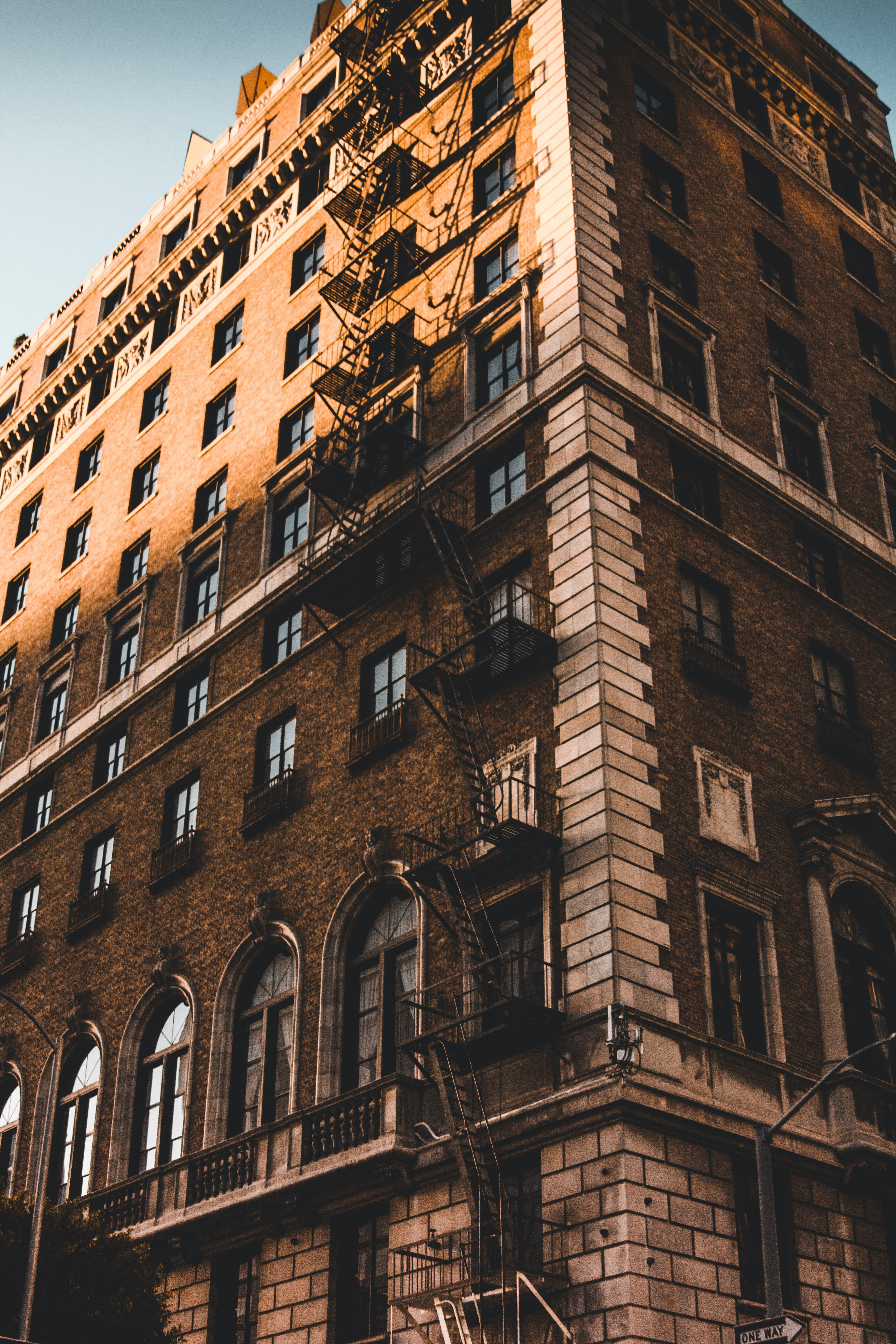 low angle photo of brown building