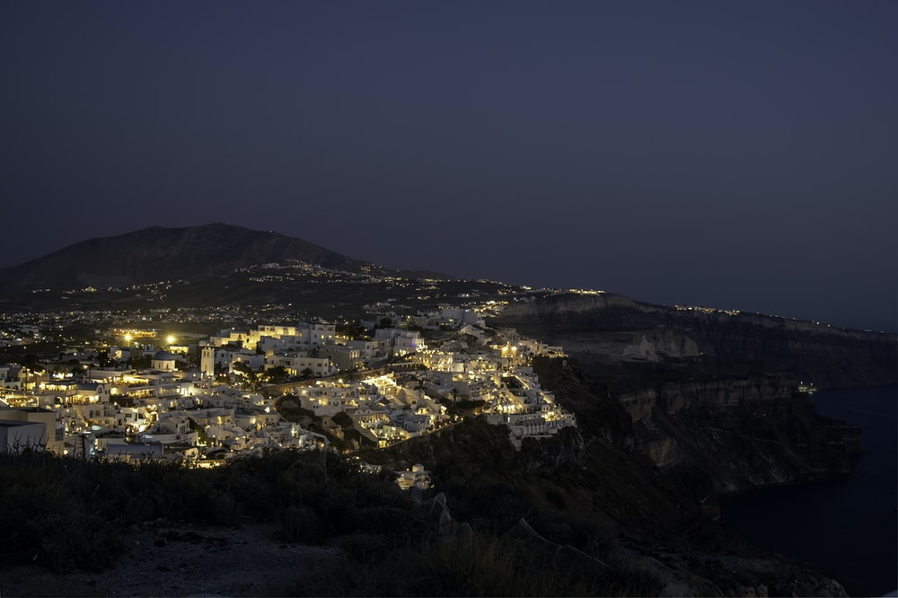 aerial photography of city at nighttime