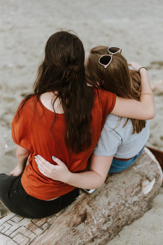women's red scoop-neck top