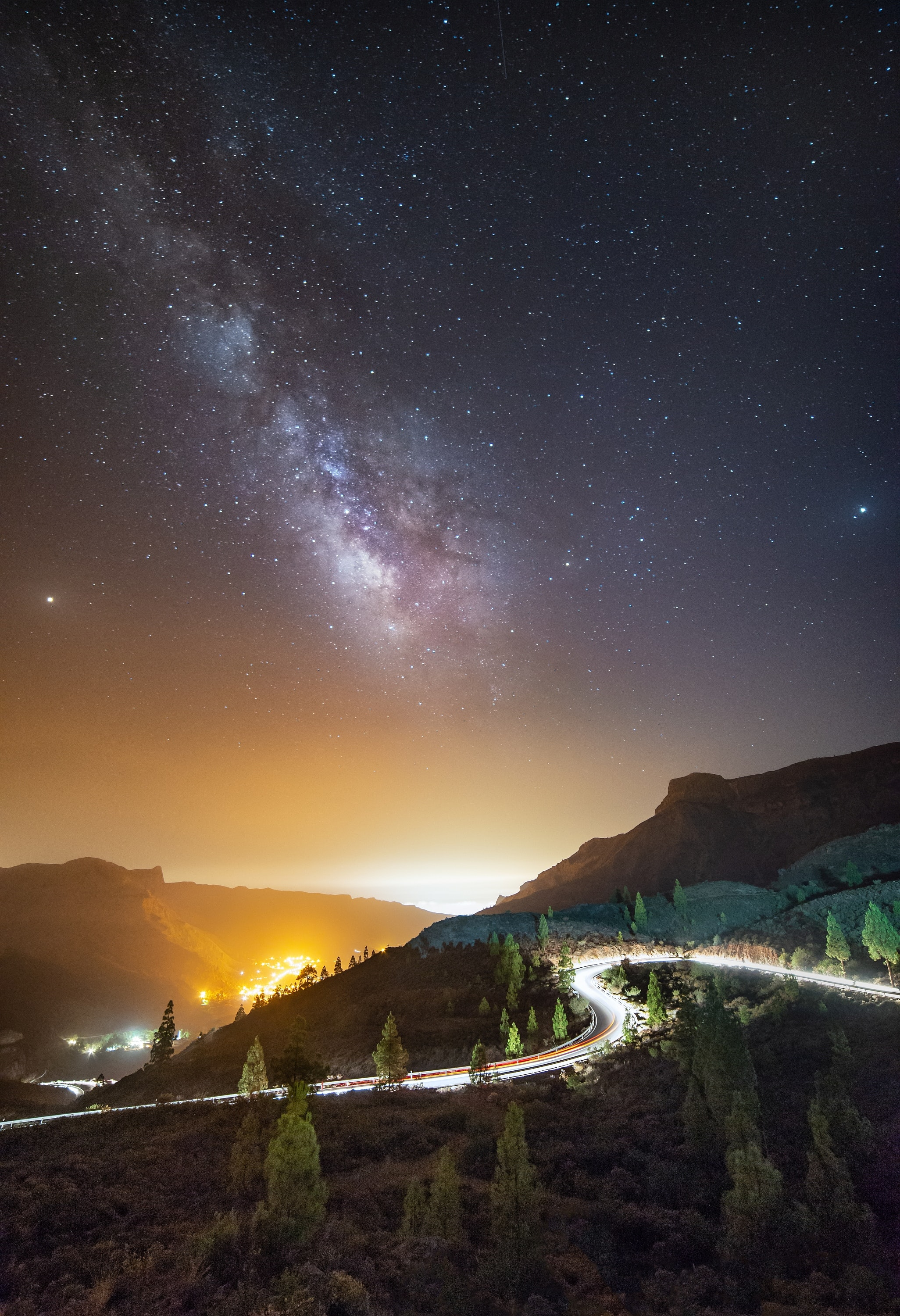 scenery of stars and mountain hill