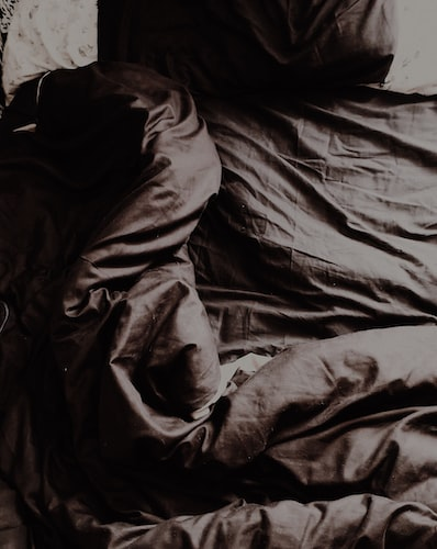 dark comforter with pillow on a bed
