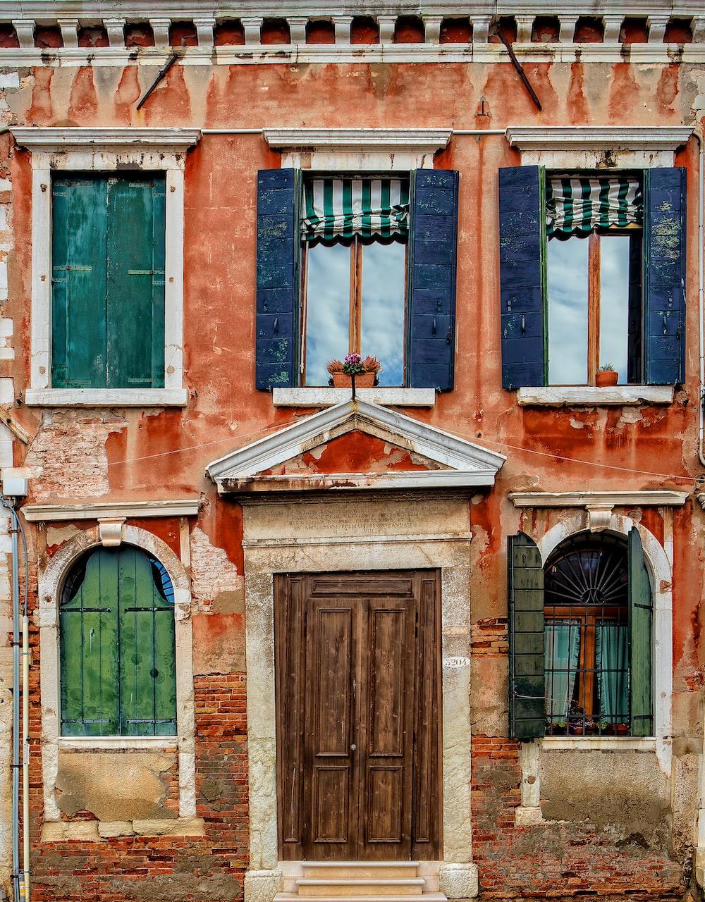 orange painted building facade