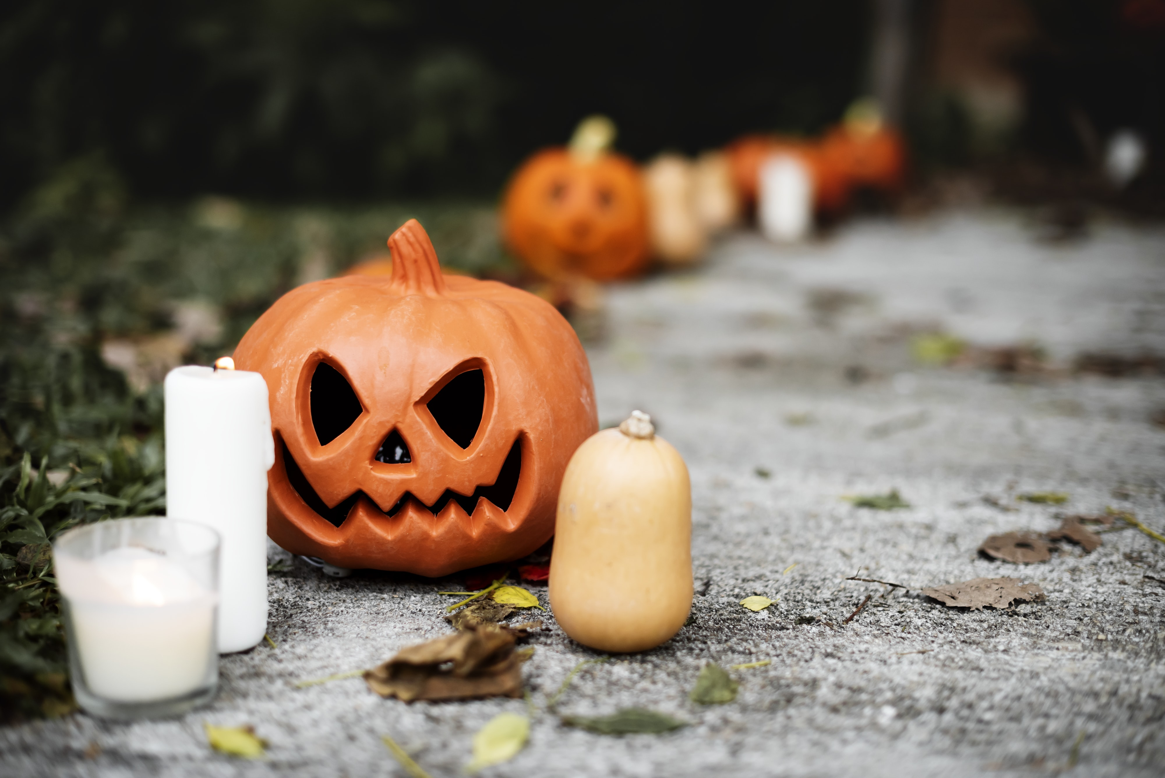 selective focus photo of pumpkin beside white pillar candle
