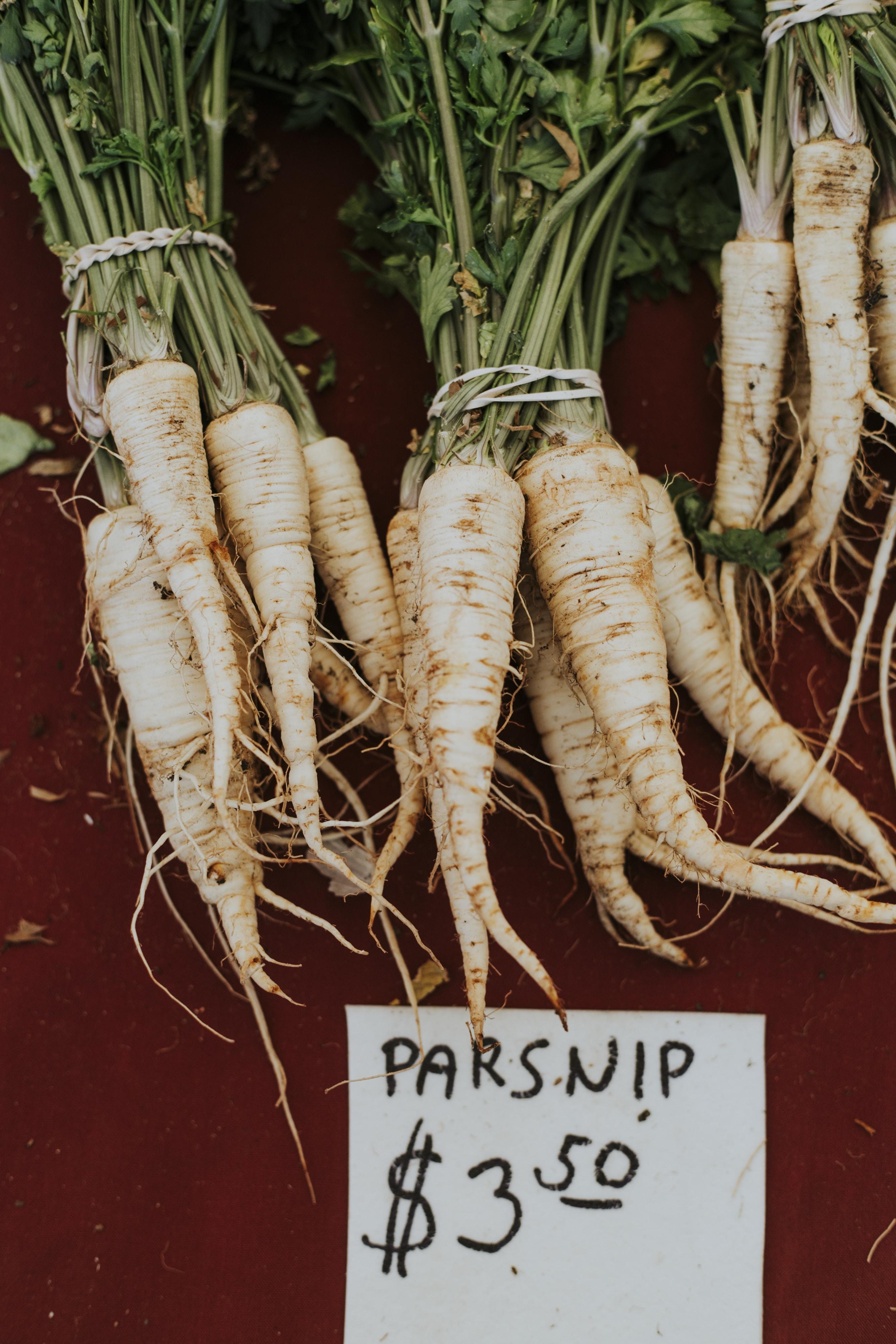 three bundles of parsnip
