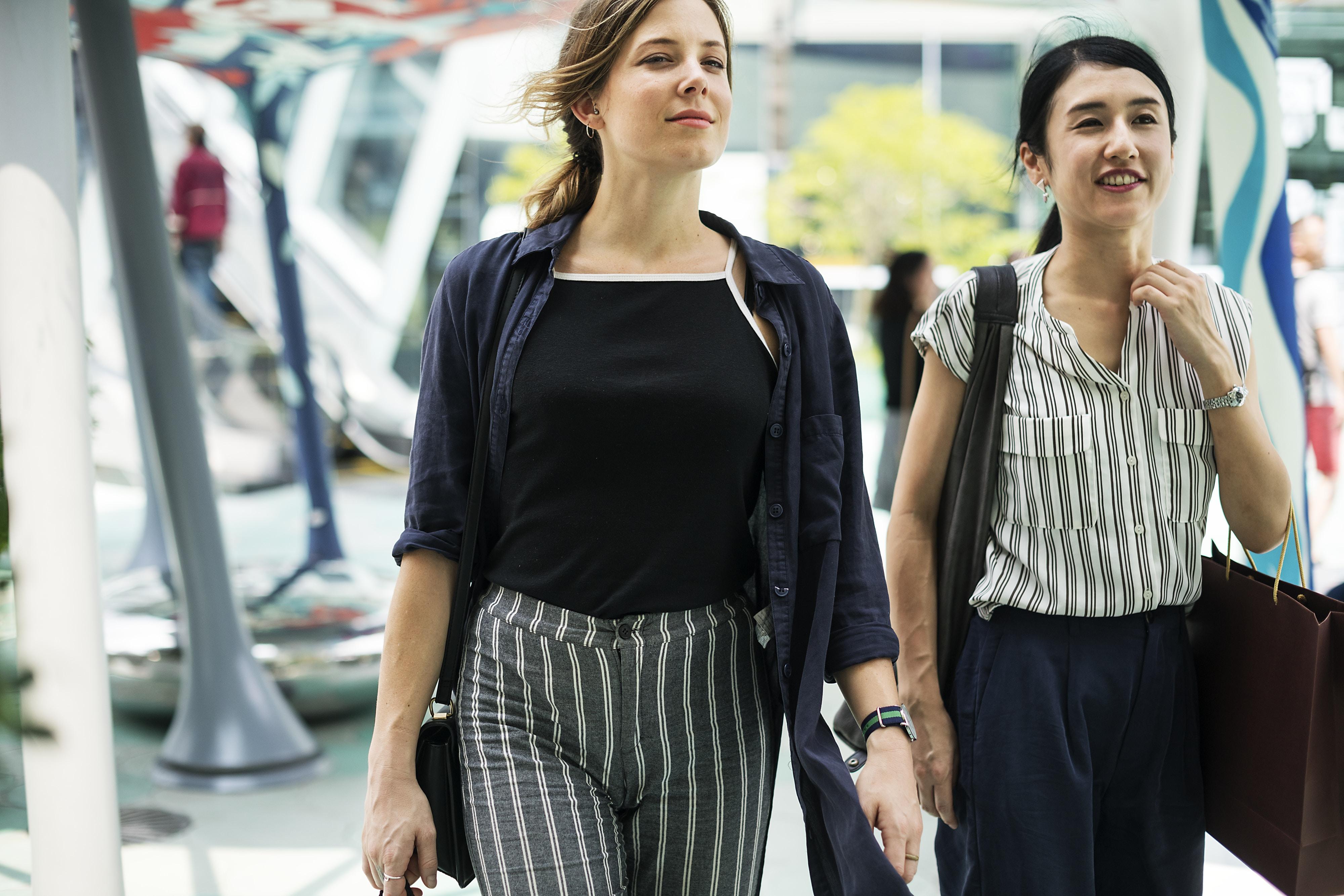 women's dark-blue button-up shirt
