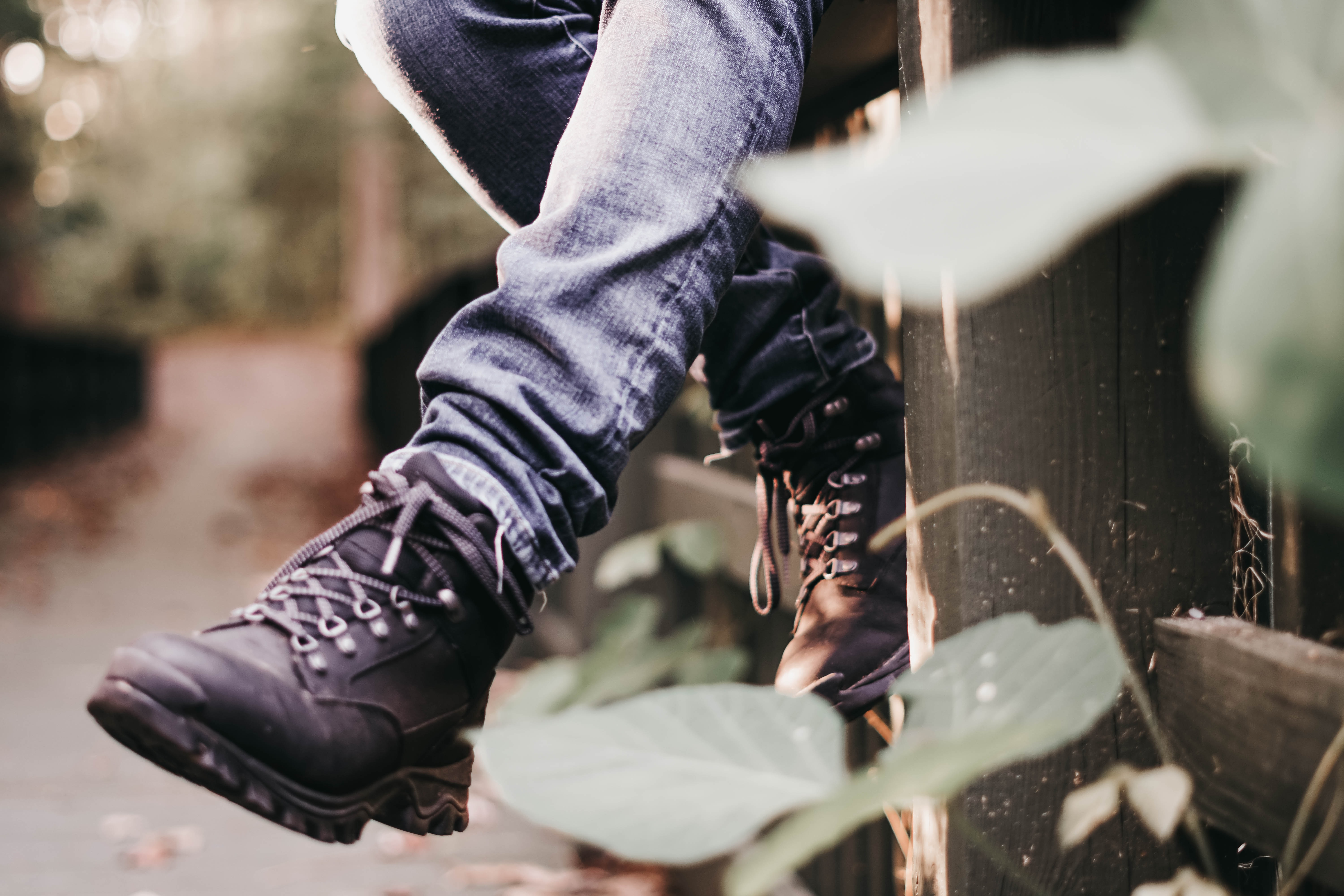 pair of black leather hiking boots