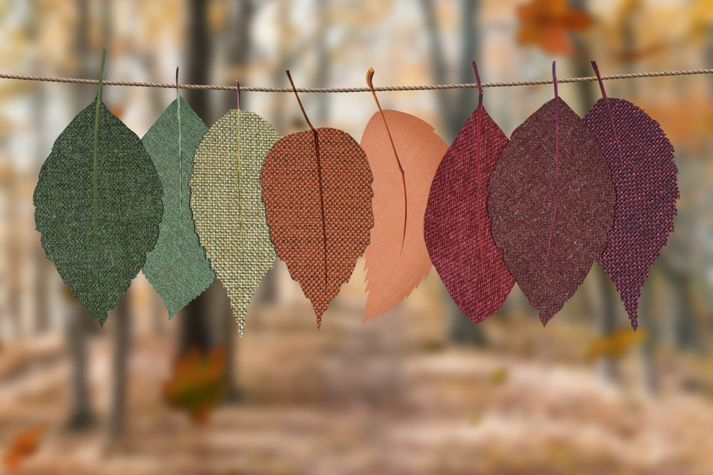 assorted-color textile leaves hanging decor