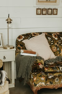 beige throw pillow, brass-colored table lamp, and two books