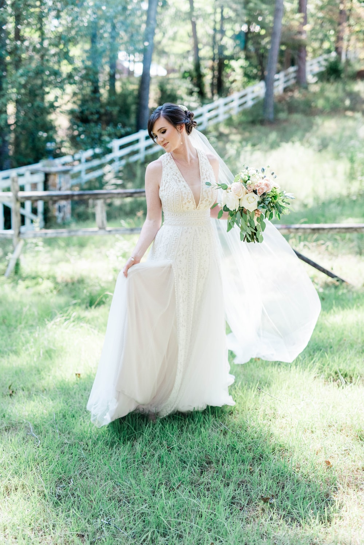 bride standing on grass