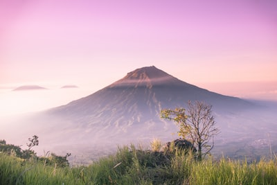 landscape photography of summit volcano teams background
