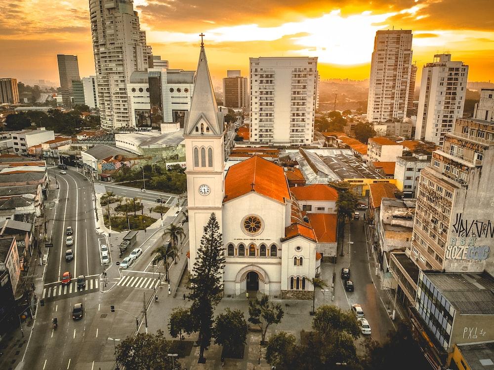 aerial photo of church