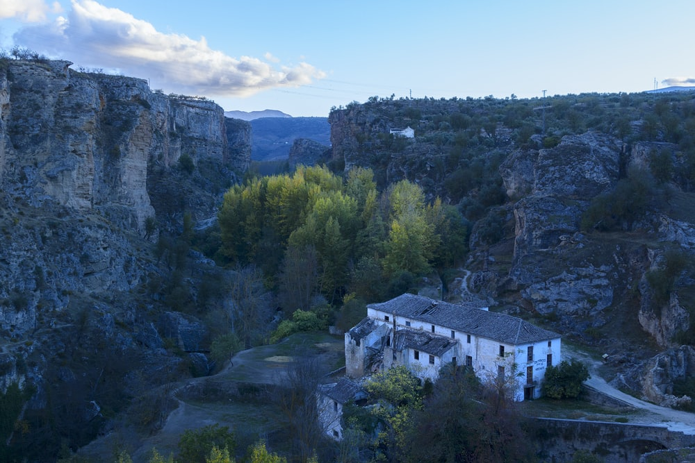aerial photo of house near mountain