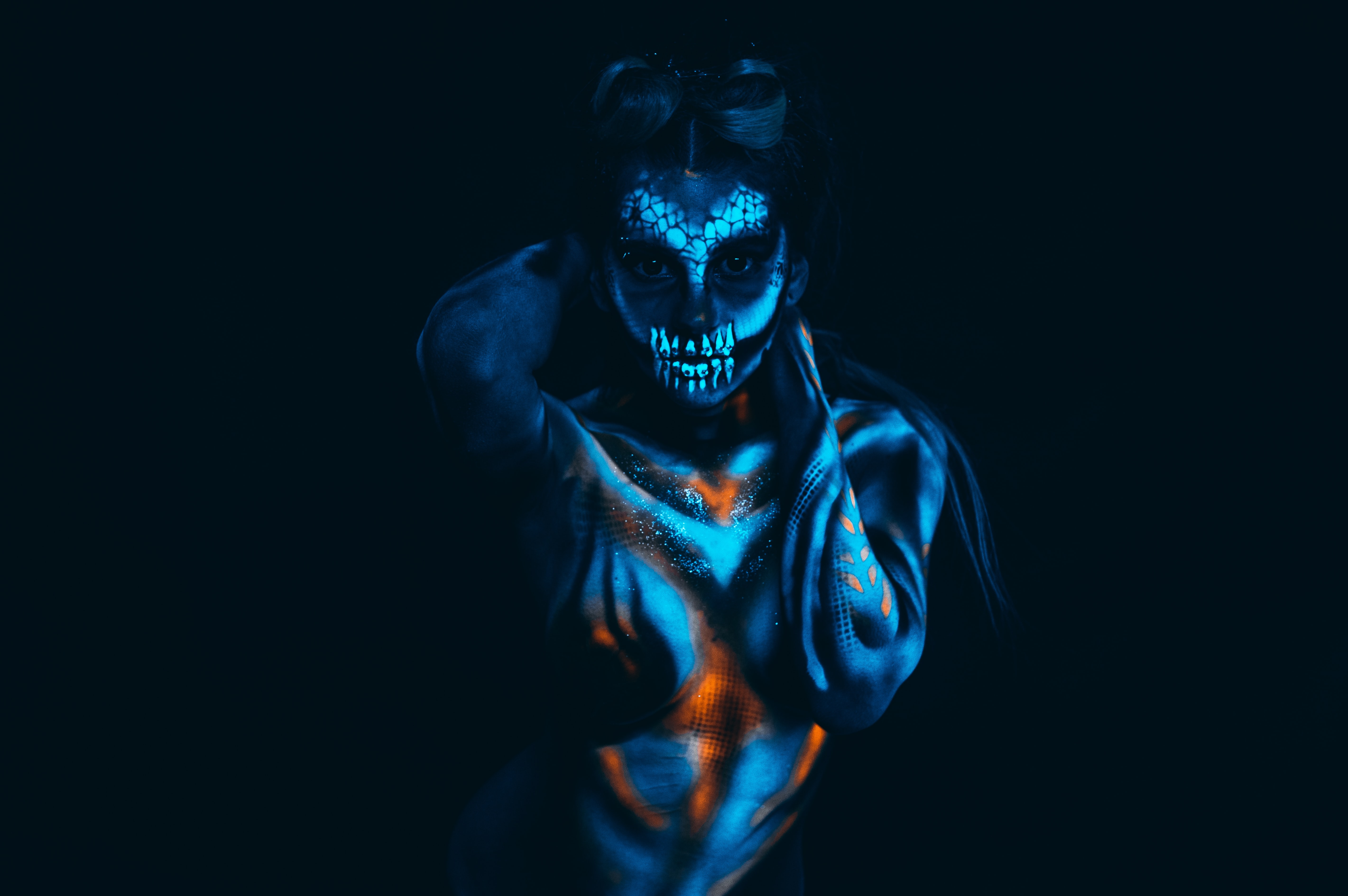 woman doing pose with body paint