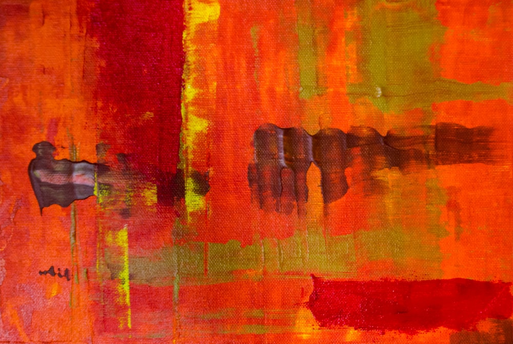 red and brown abstract painting