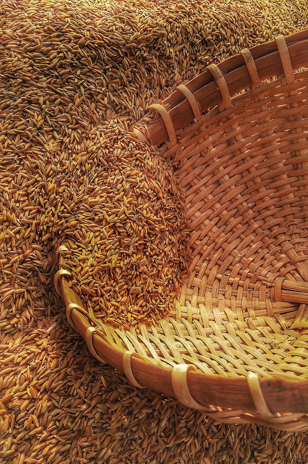 wicker basket on rice grains