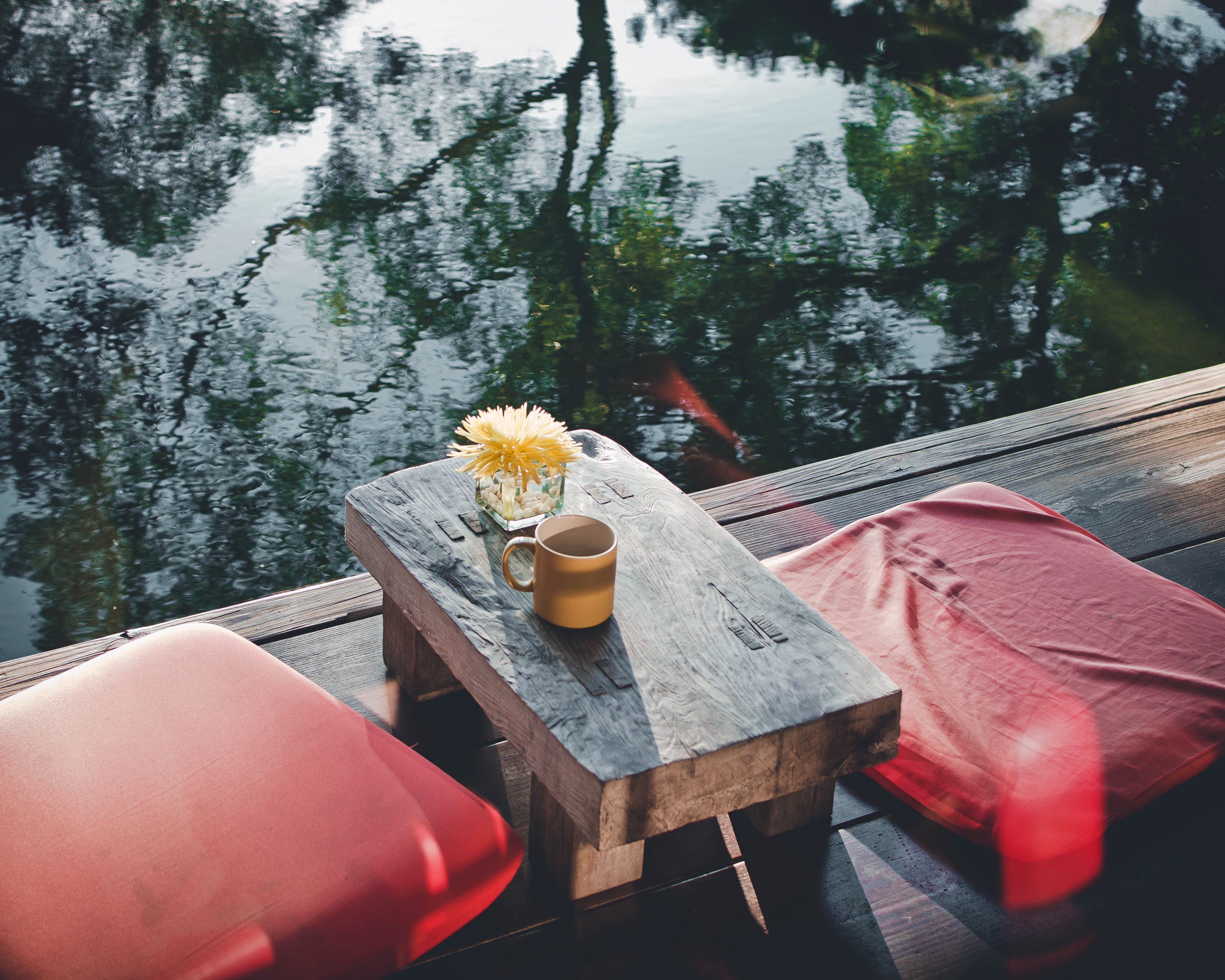 two red cushions near body of water
