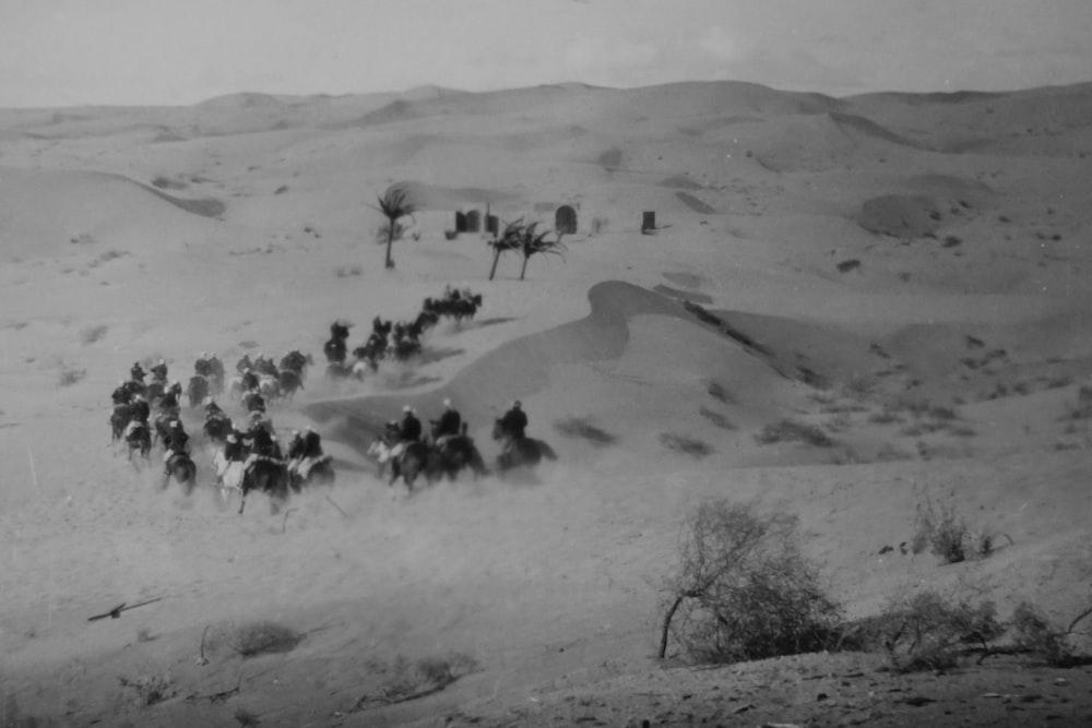 grayscale photo of men riding horses on desert