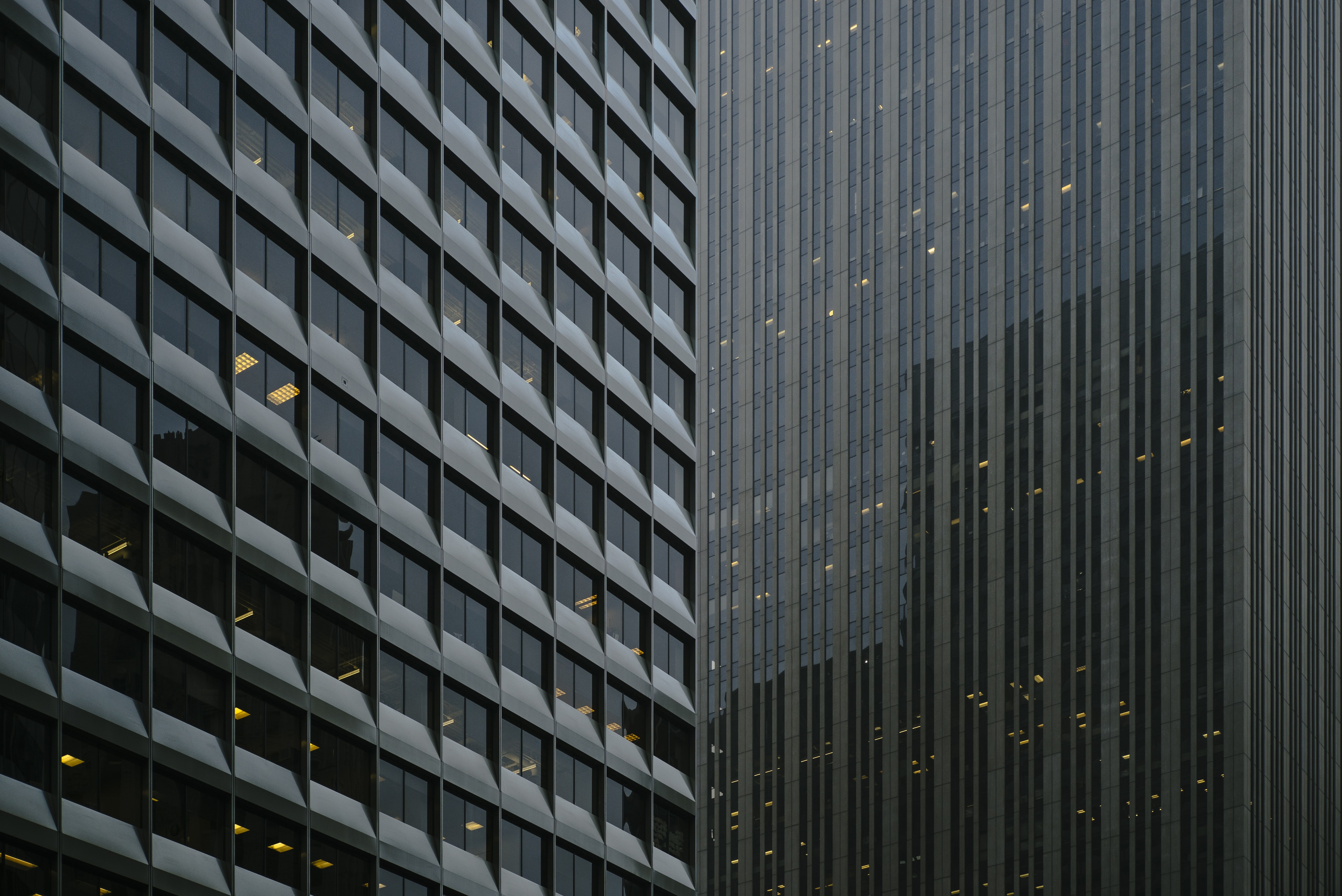 architectural photography of glass curtain buildings