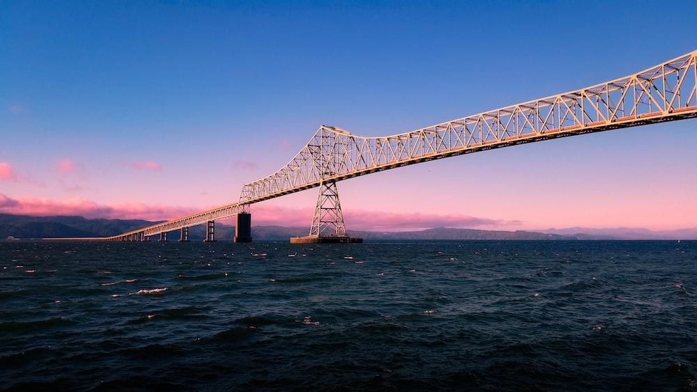 steel bridge over body of water