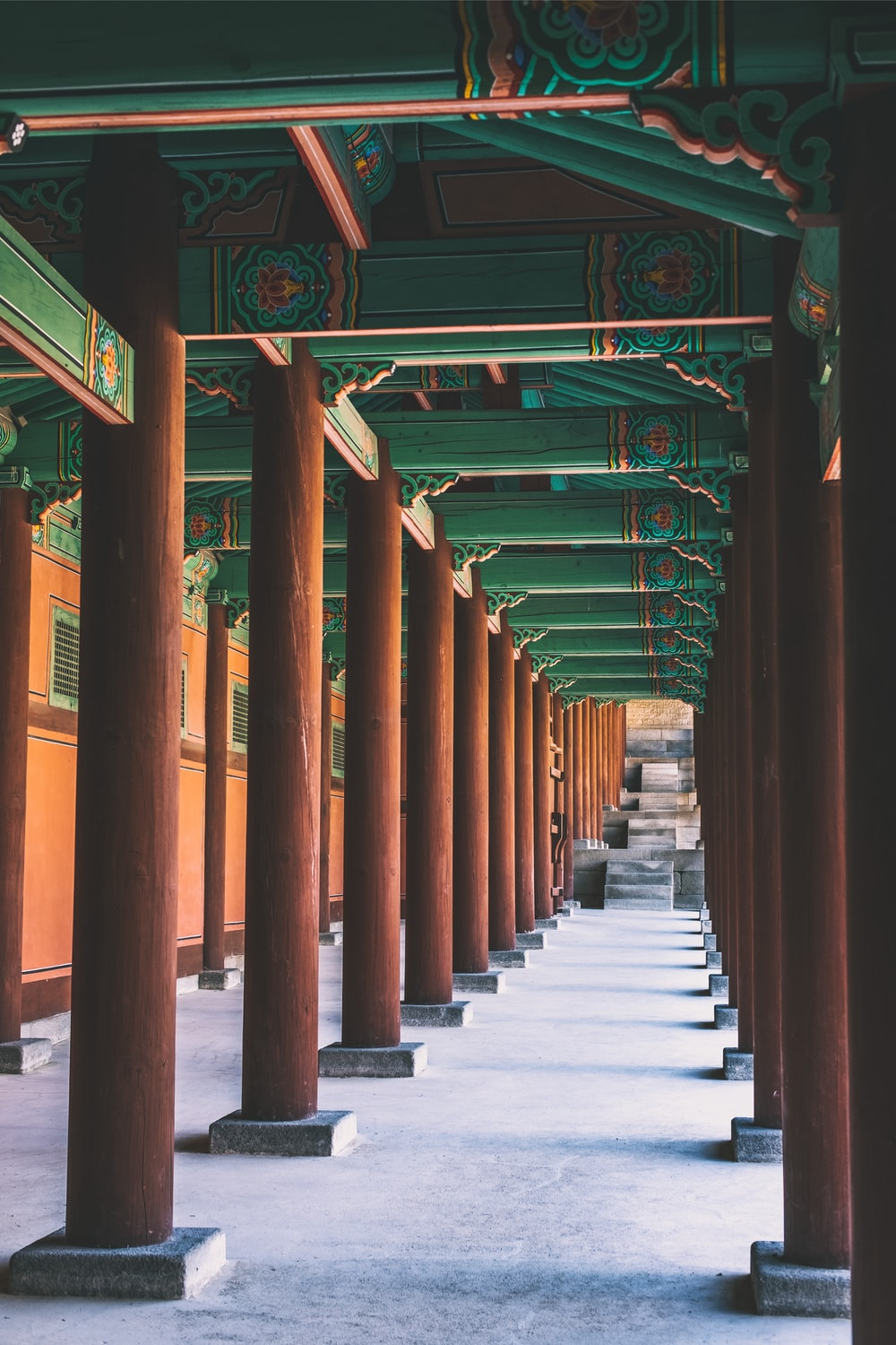 brown wooden post temple with green roof photo during daytime