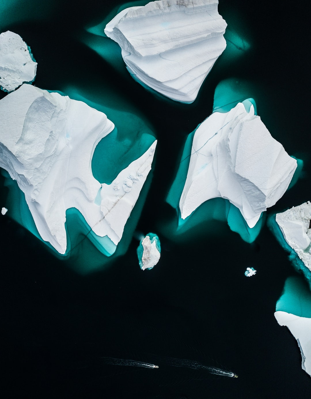 Iceberg at Scoresby Sund, Greenland from above