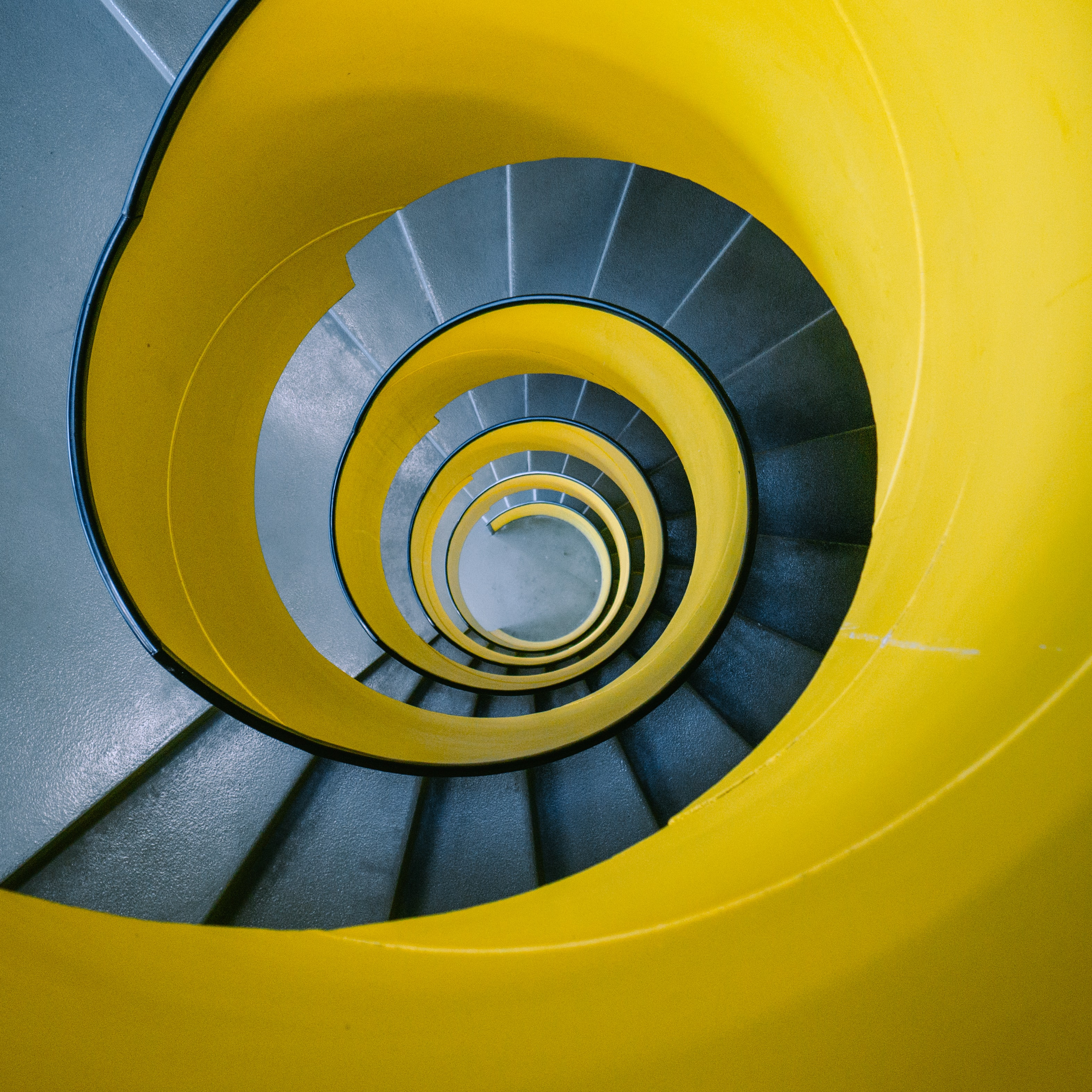 yellow spiral stair