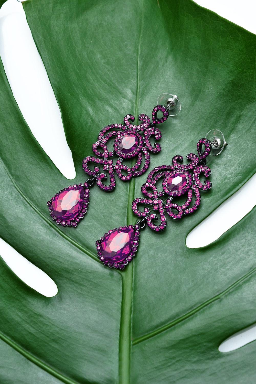 pair of purple earrings
