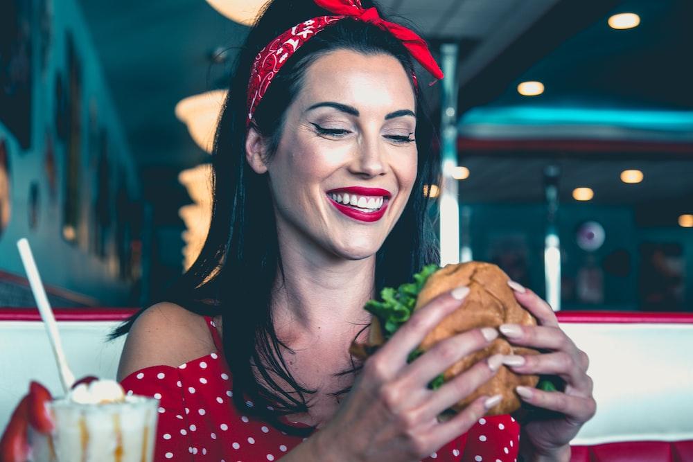 woman eats burger