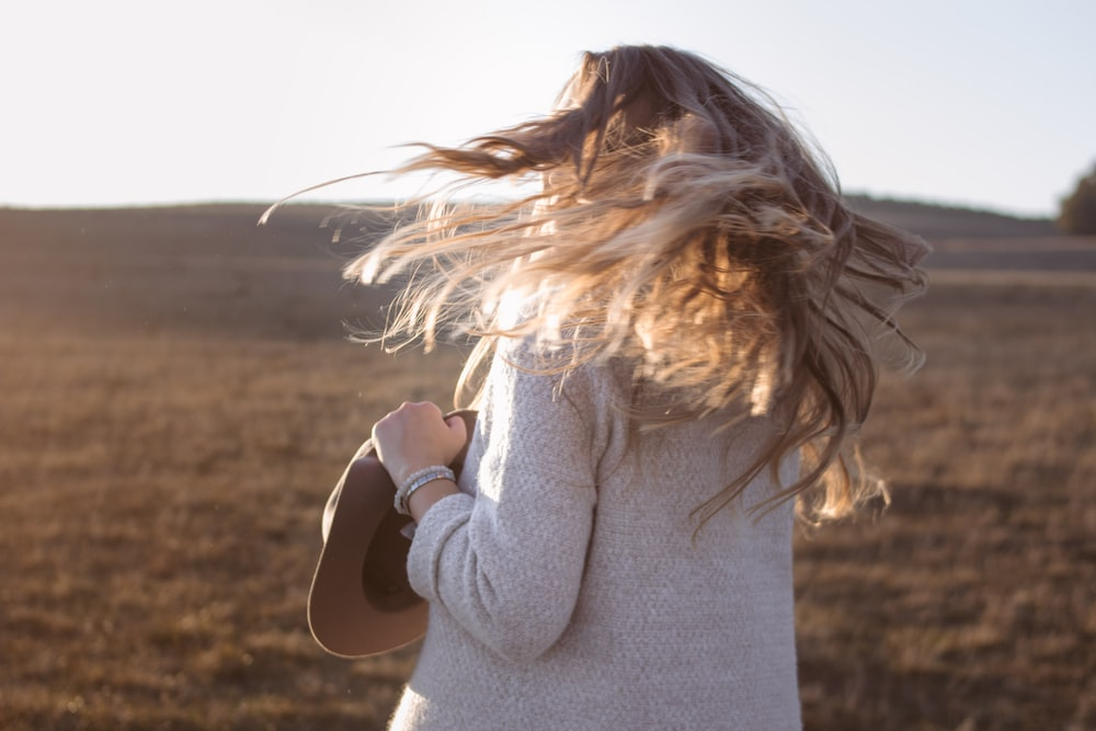 woman waving her hair
