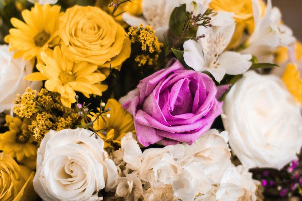 yellow, white, and purple flower arrangment