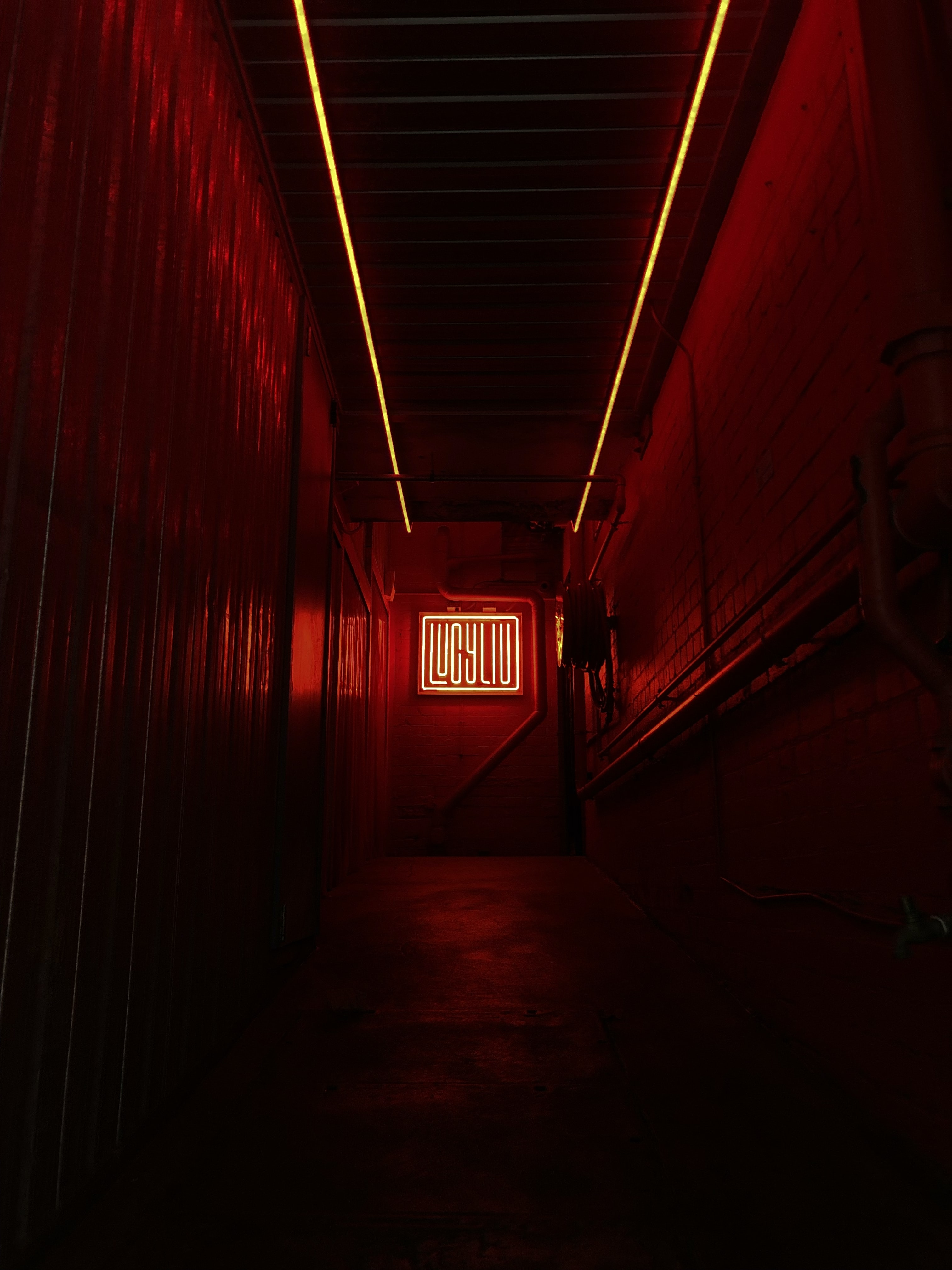 red illuminated sign