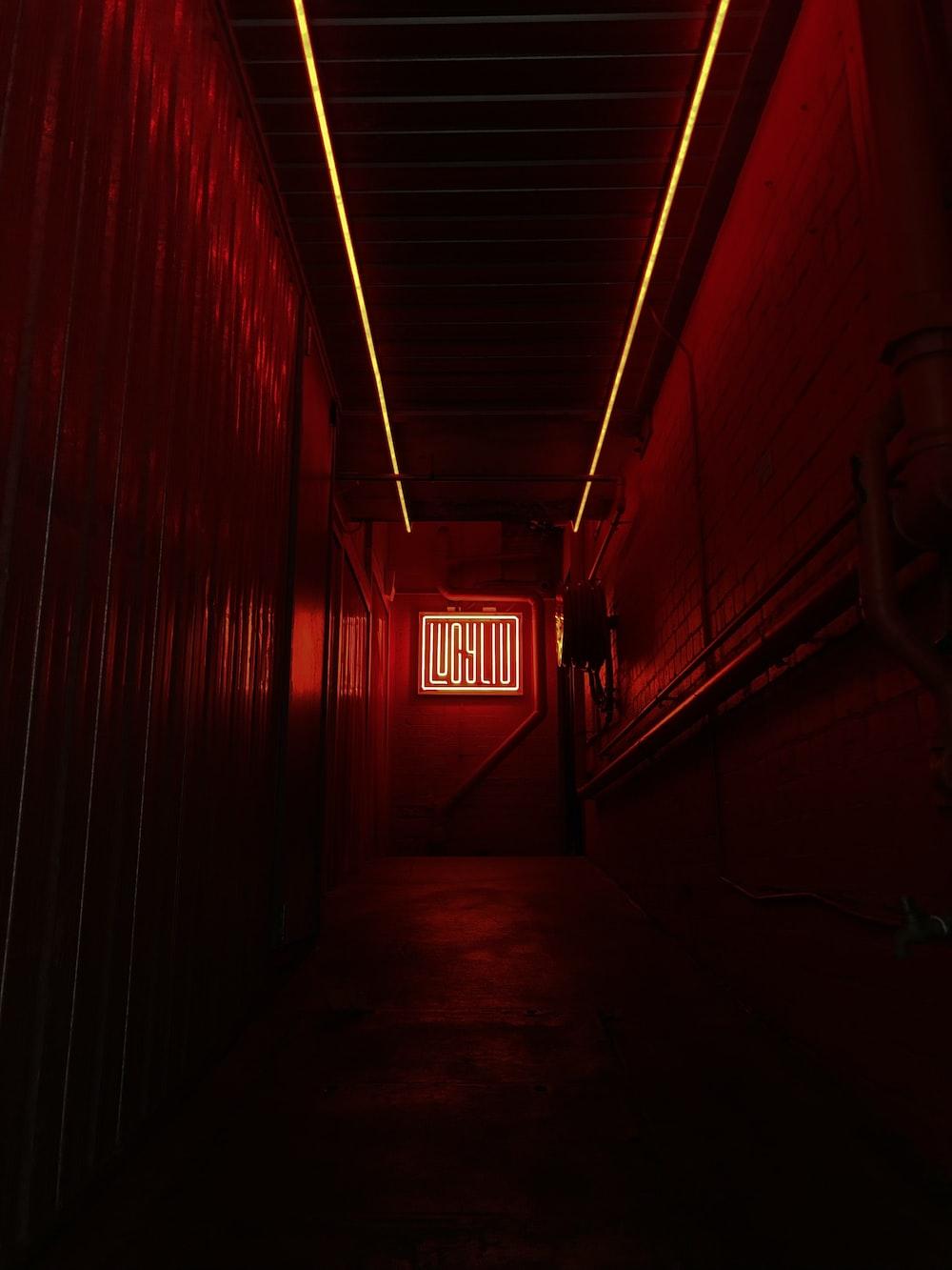 red illuminated sign