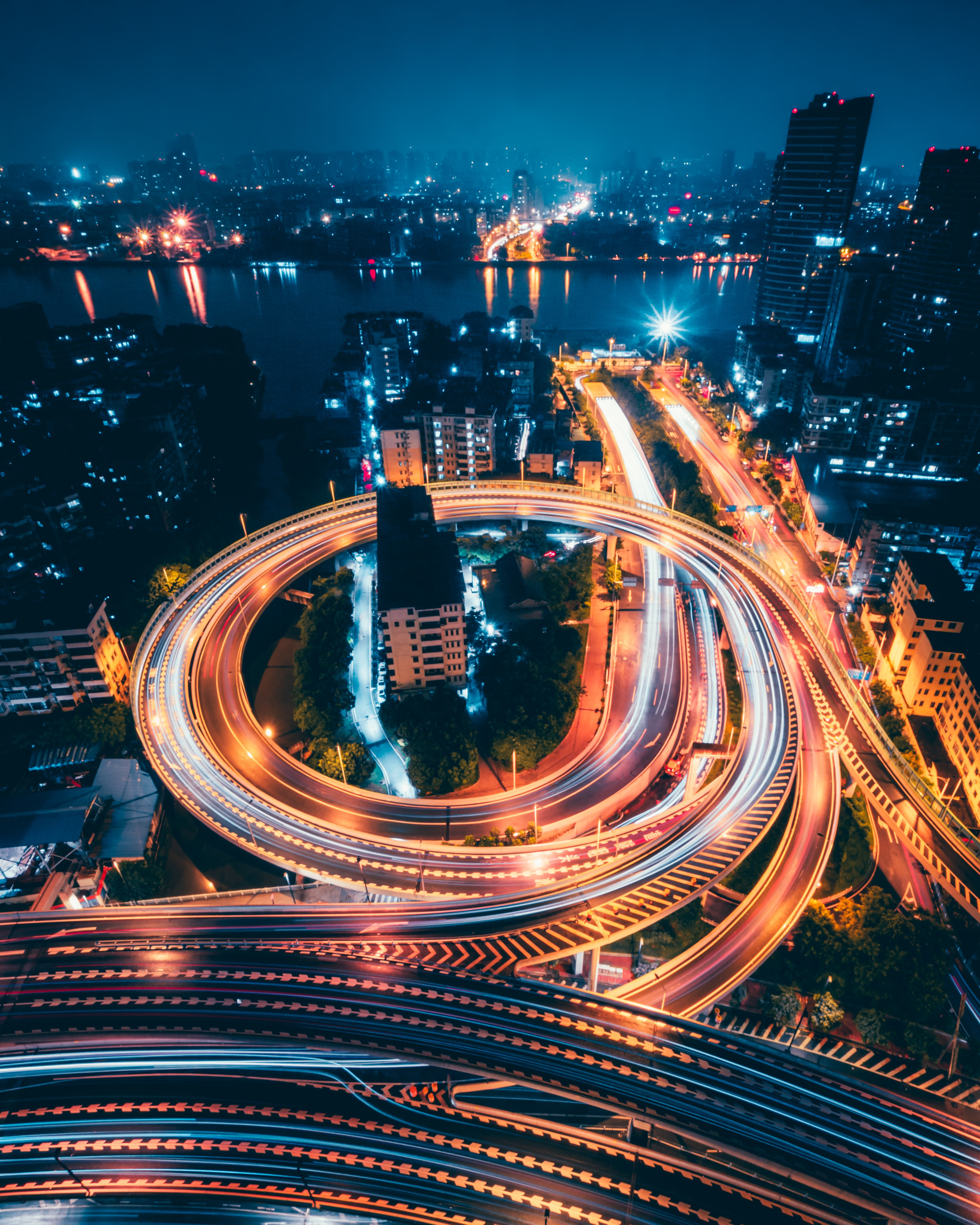 time-lapse aerial photography of city during night