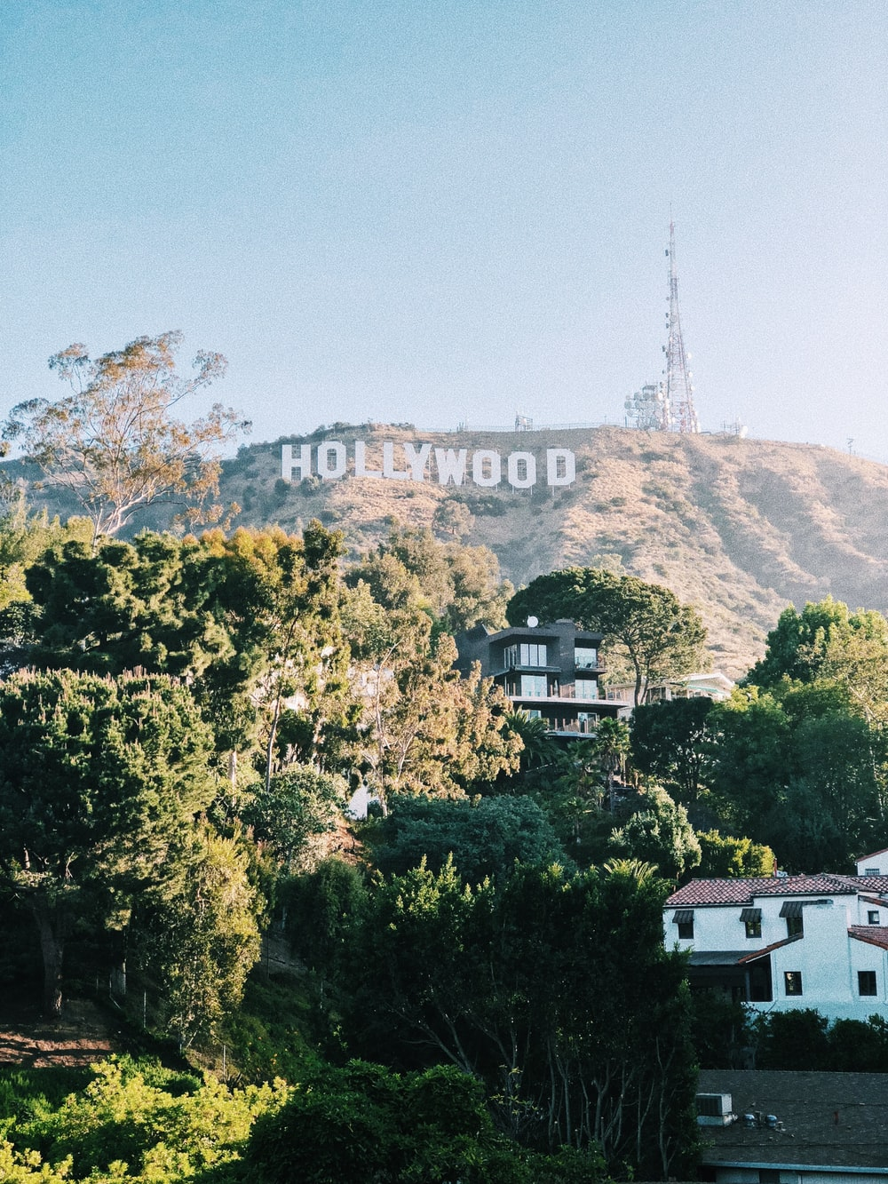 Hollywood Sign Los Angeles Tower And Blue Hd Photo By