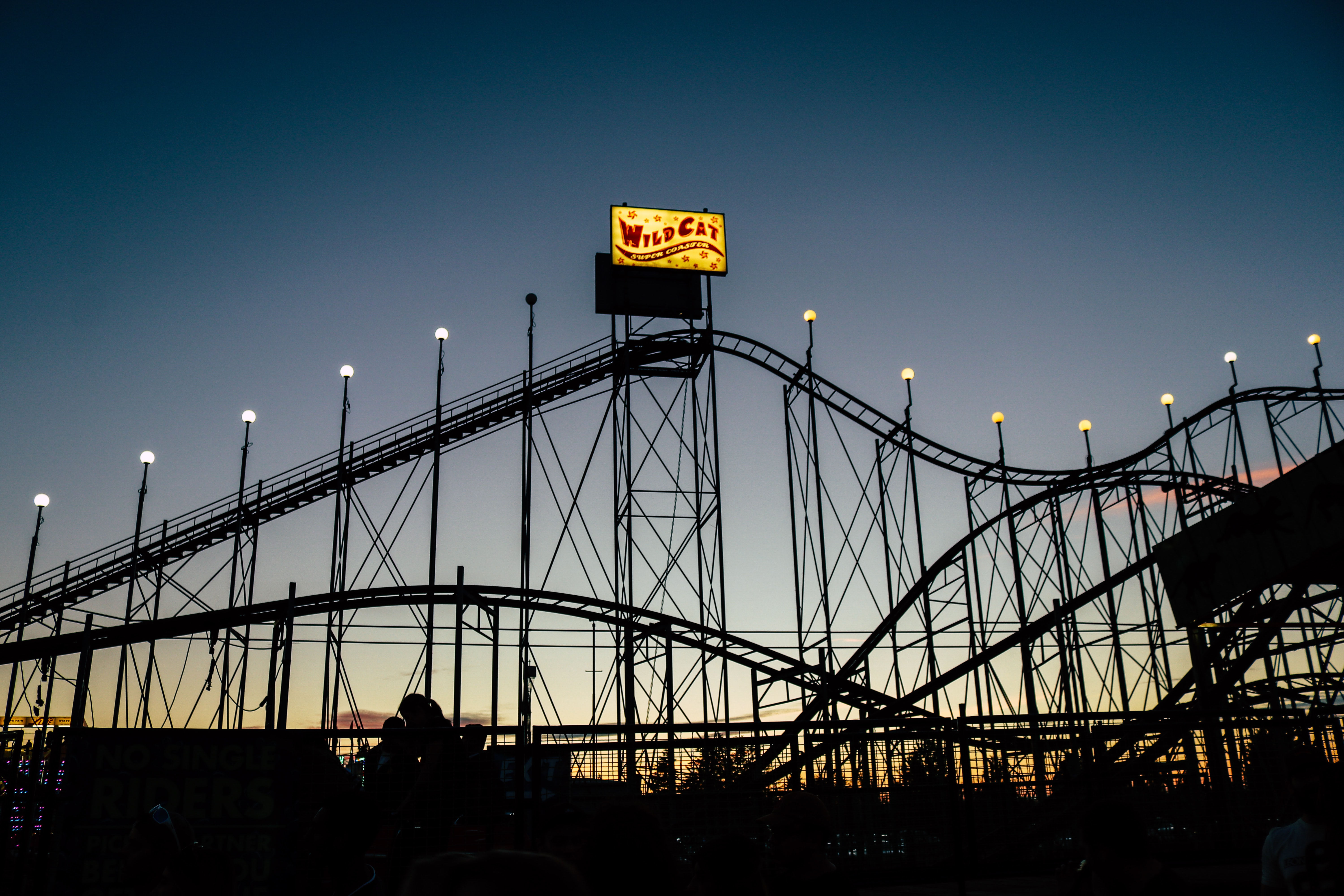 silhouette photo of Wild Cat roller coaster