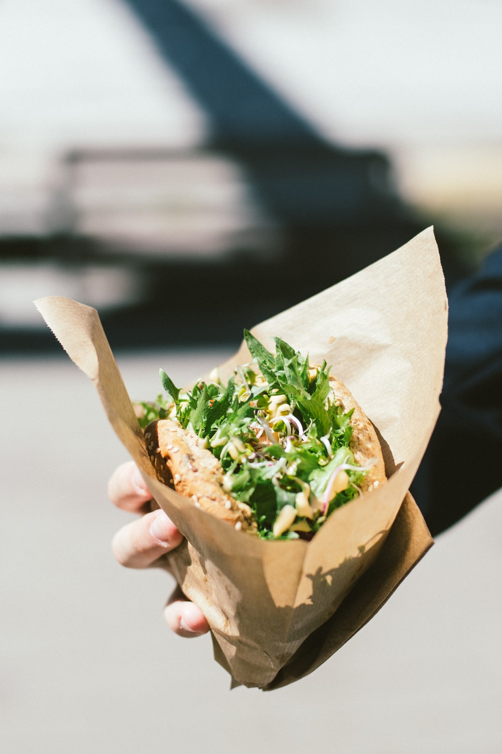 person holding brown paper bag with vegetable sandwich