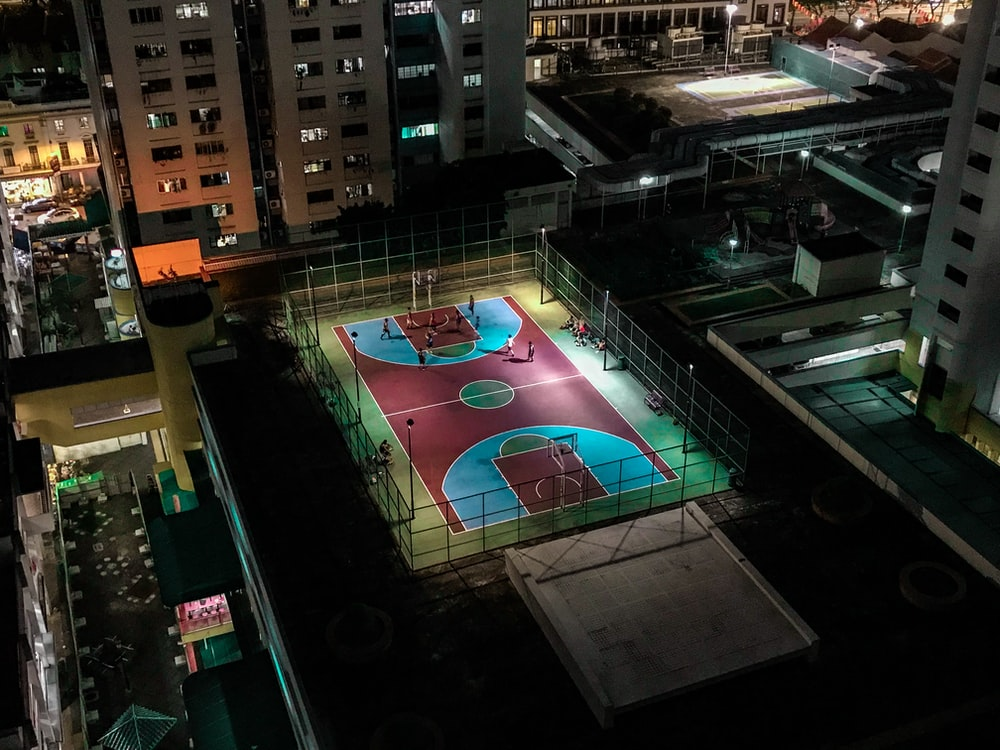 aerial photo of basketball court on top of the building
