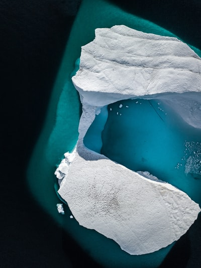 Arctic iceberg from above