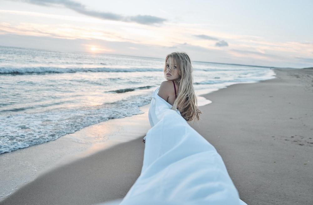 woman walking in beach