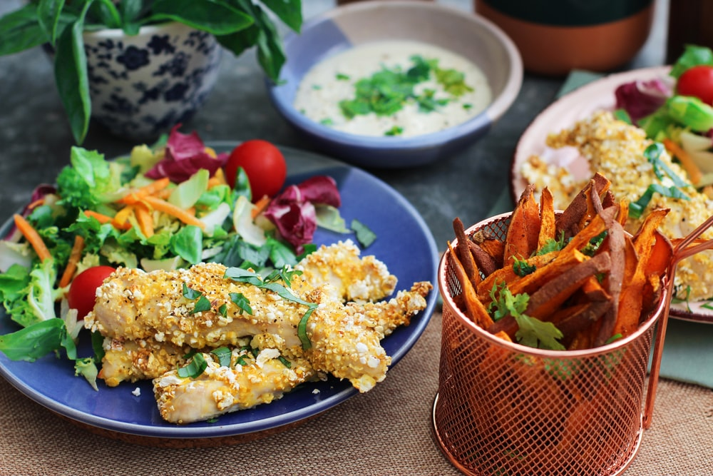 vegetables and breaded dishes