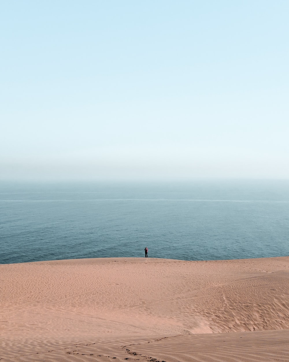 person standing on beach under white sky at daytime