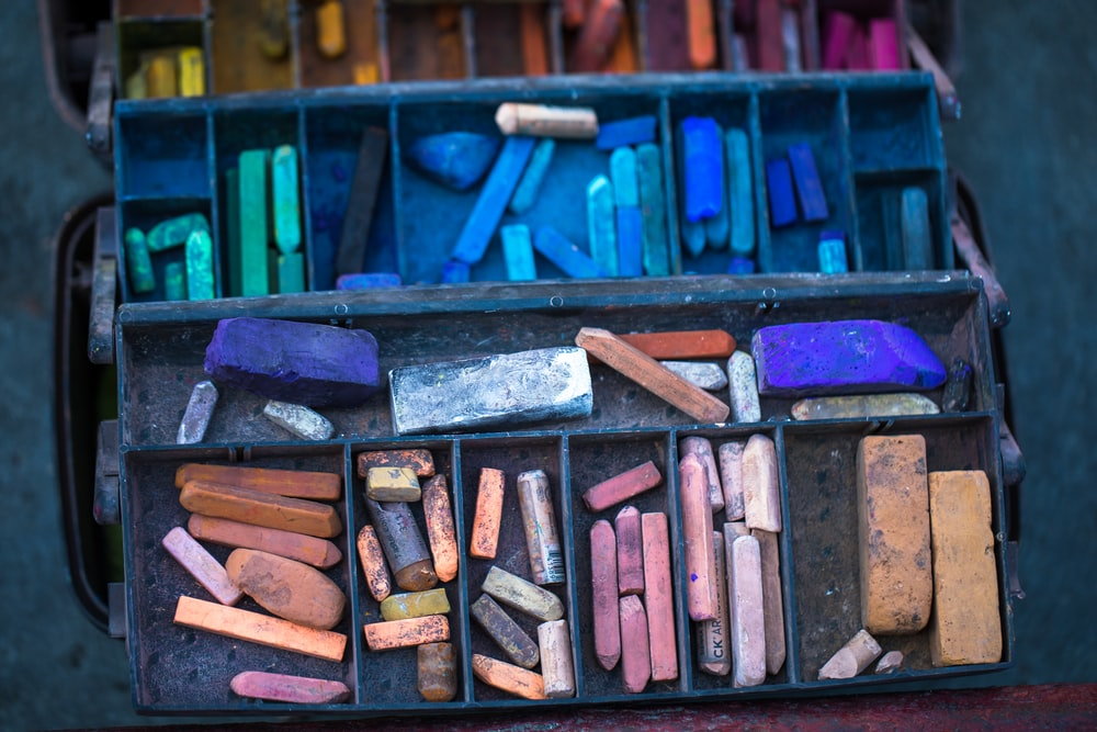 assorted-color chalk in case