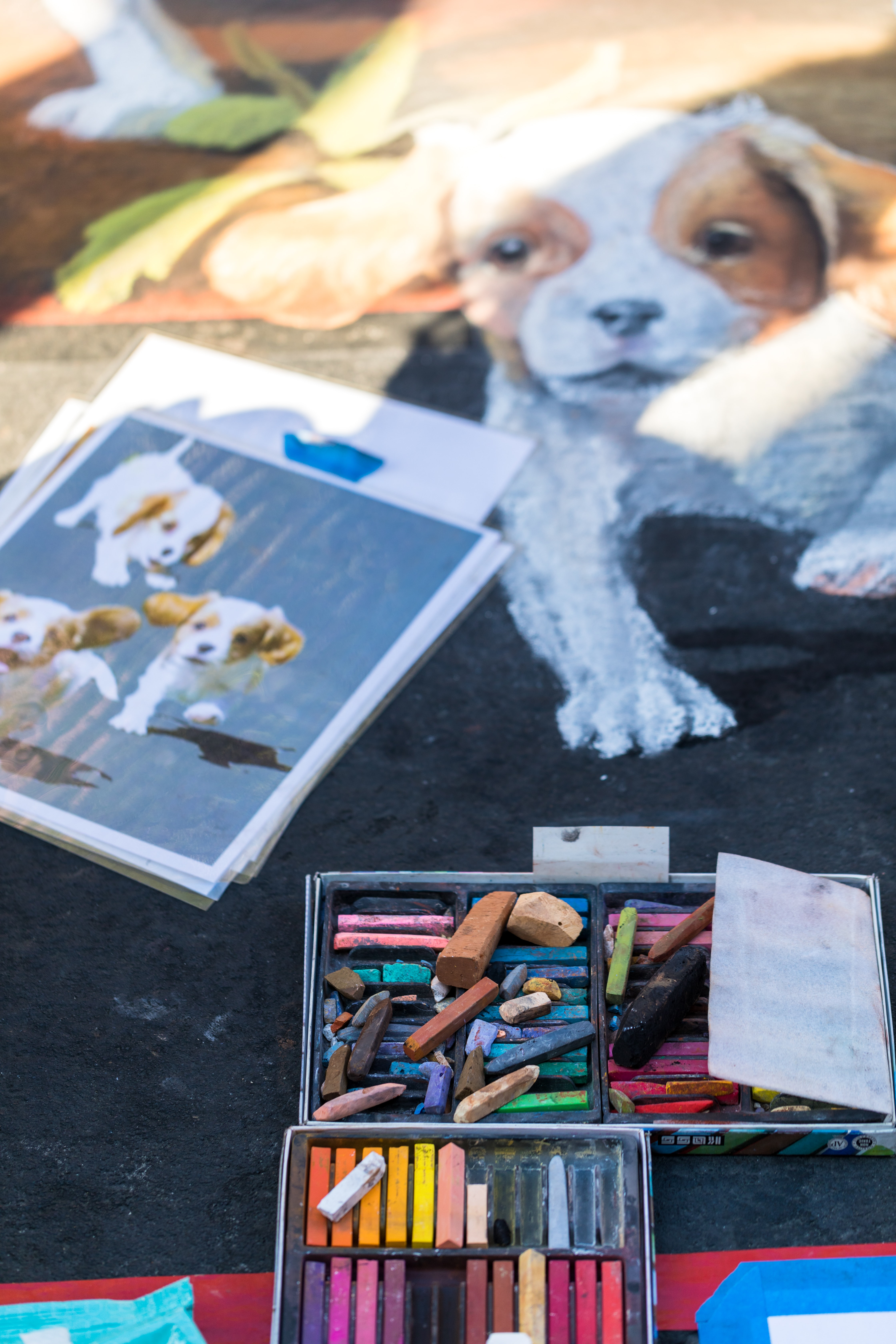 drawing of puppies beside coloring materials