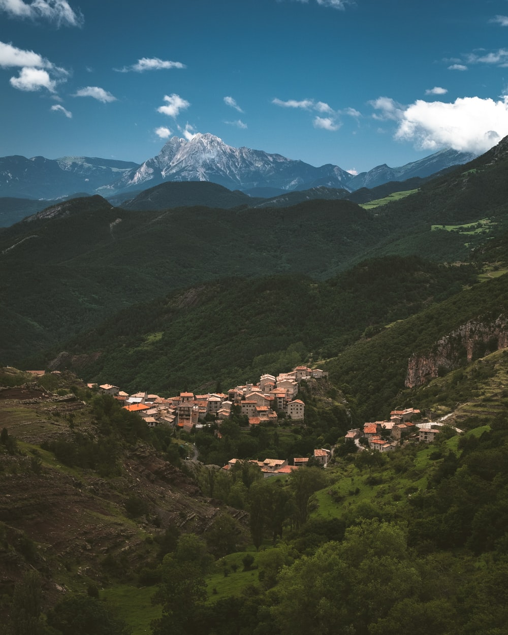 buildings in the middle of mountains and trees