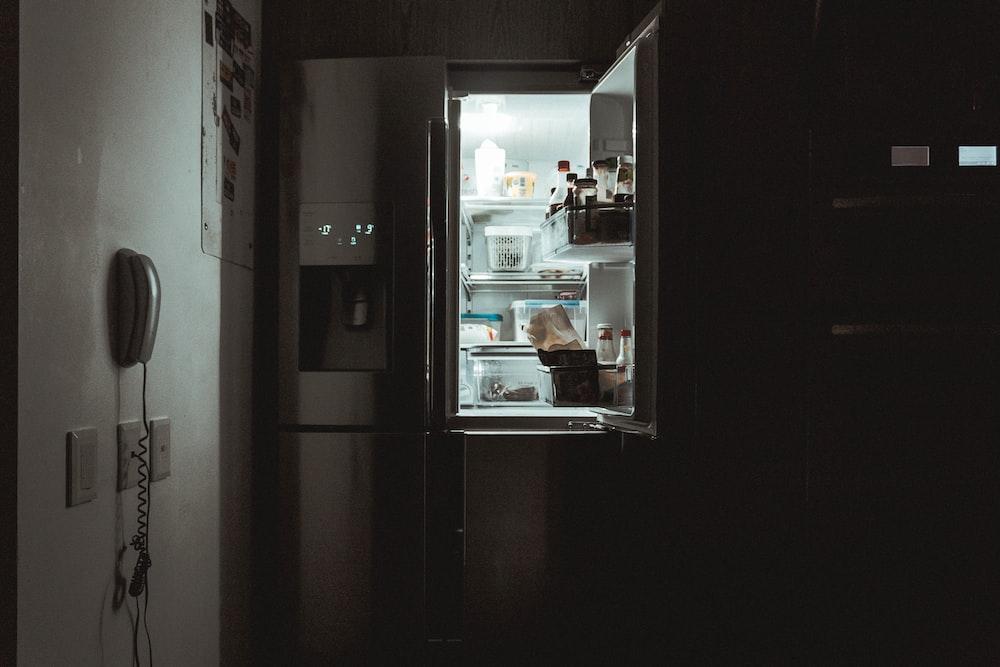 silver French-door refrigerator