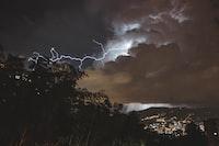 lighting strike during nighttime